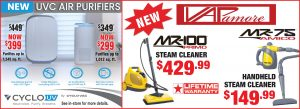 Air purifiers and steam cleaners